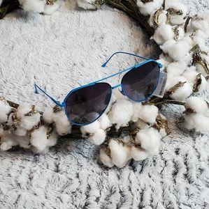DIFF Eyewear Neon Blue Aviator Style Sunglasses OS